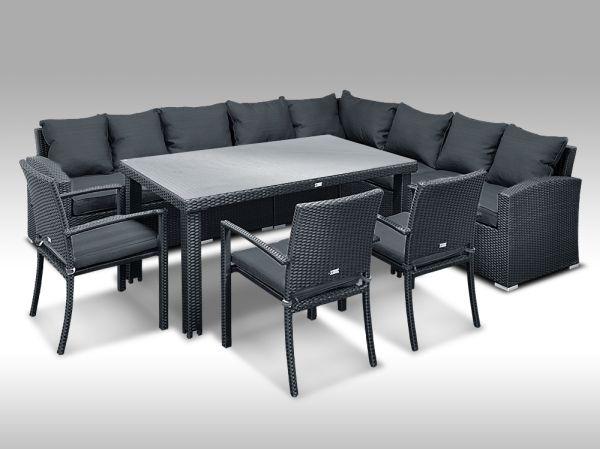 Luxusní sedací a jídelní souprava  PAOLA 10 2v1 černá 8 osob + DÁREK