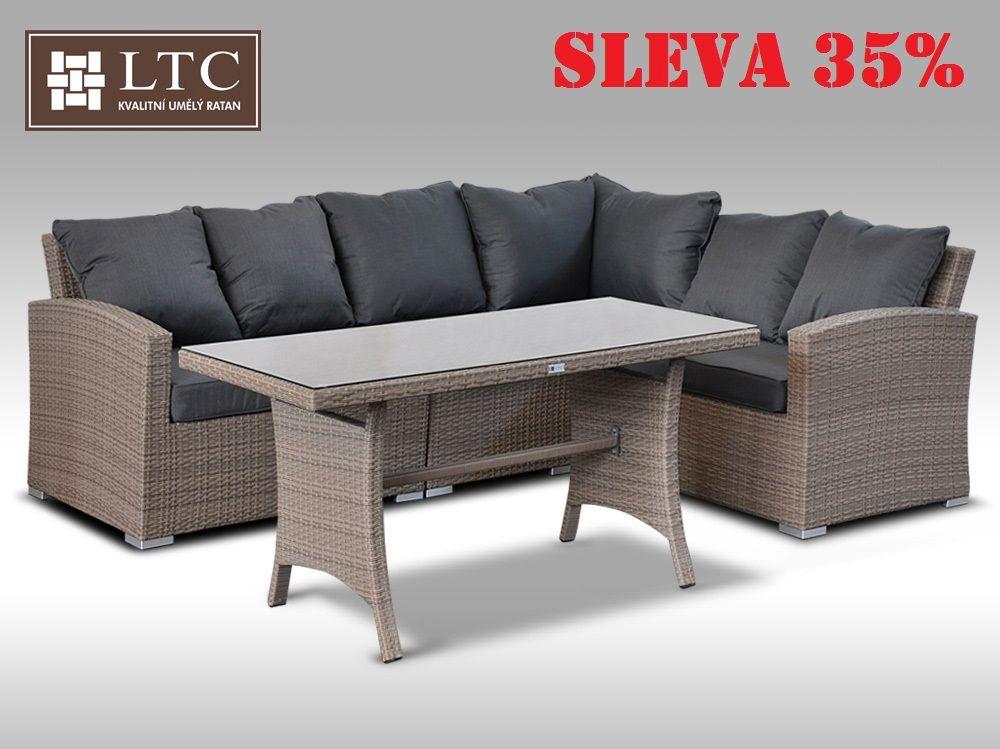 Luxusní sedací a jídelní souprava  PAOLA III šedobéžová 4 osoby 2v1