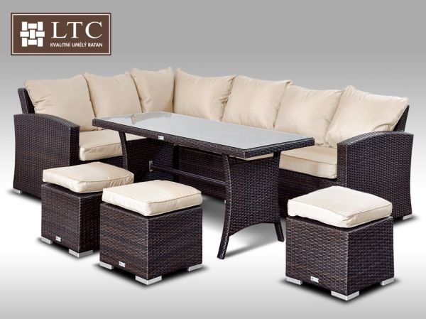Luxusní sedací a jídelní souprava  PAOLA 2 2v1 hnědá 4-7 osob, sv. hnědý polstr + DÁREK