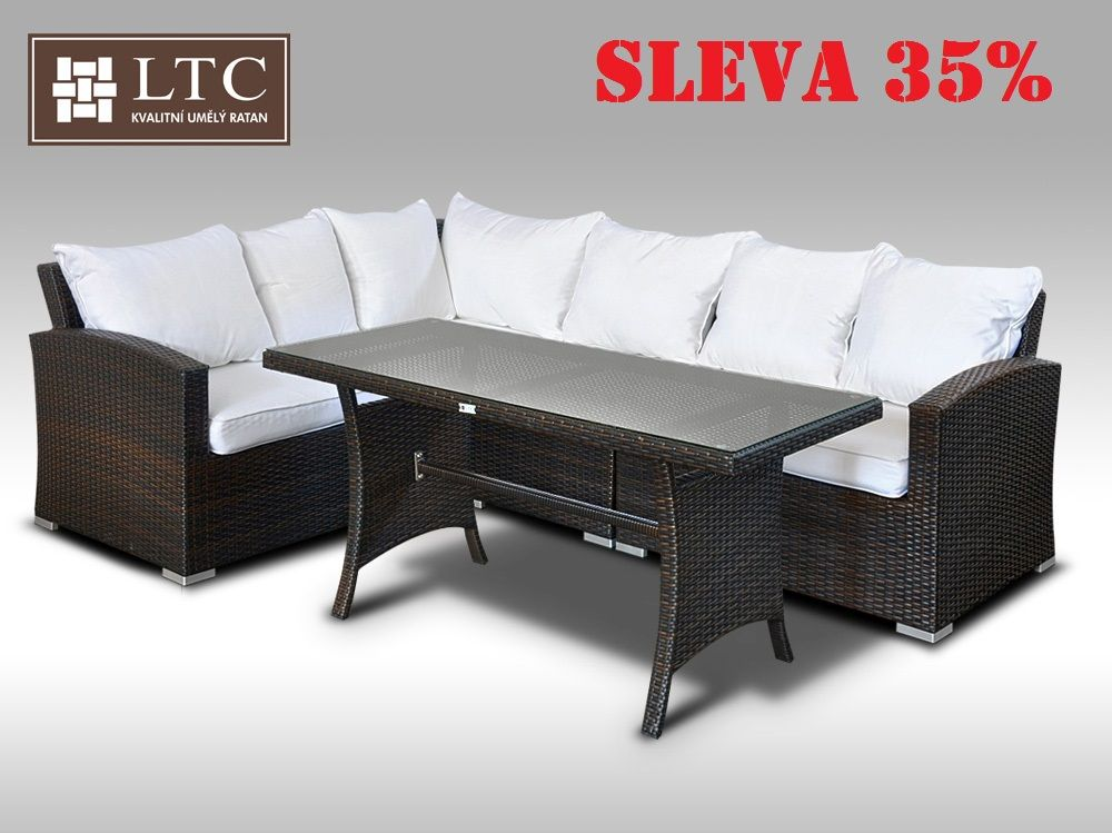 Luxusní sedací a jídelní souprava  PAOLA IV 2v1 hnědá 4 osoby