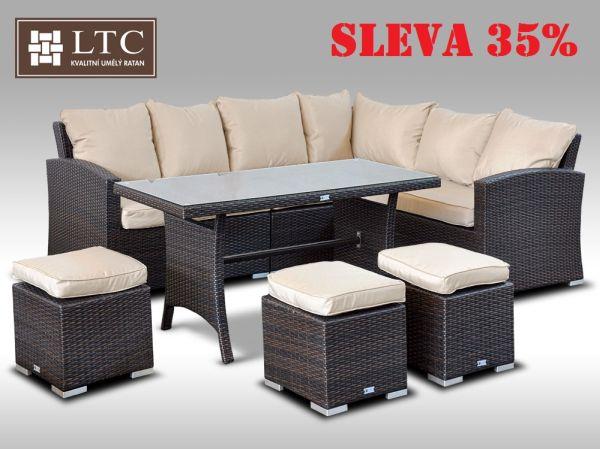 Luxusní sedací a jídelní souprava  PAOLA I 2v1 hnědá 4-7 osob, světle hnědý polstr