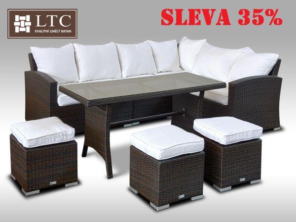 Luxusní sedací a jídelní souprava  PAOLA I 2v1 hnědá 4-7 osob