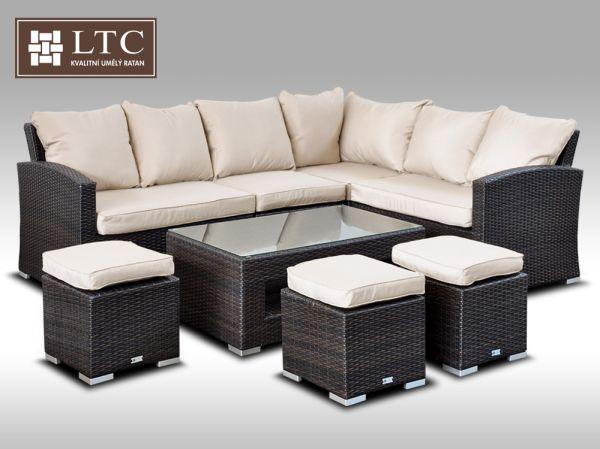 Luxusní sedací a jídelní souprava  PAOLA V hnědá 4-7 osob, světle hnědý polstr