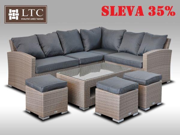 Luxusní sedací a jídelní souprava  PAOLA V šedobéžová 4-7 osob