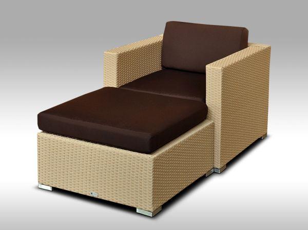 Umělý ratan - luxusní sedací souprava ALLEGRA 1 písková 1-2 osoby