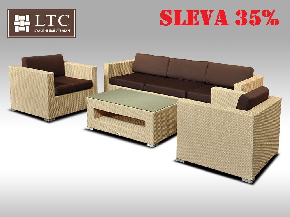 Umělý ratan - luxusní sedací souprava ALLEGRA III písková 5 osob