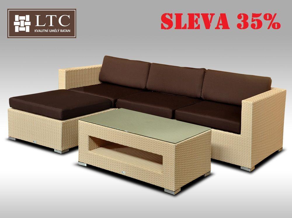 Luxusní rohová sedací souprava ALLEGRA VII písková 3-4 osoby