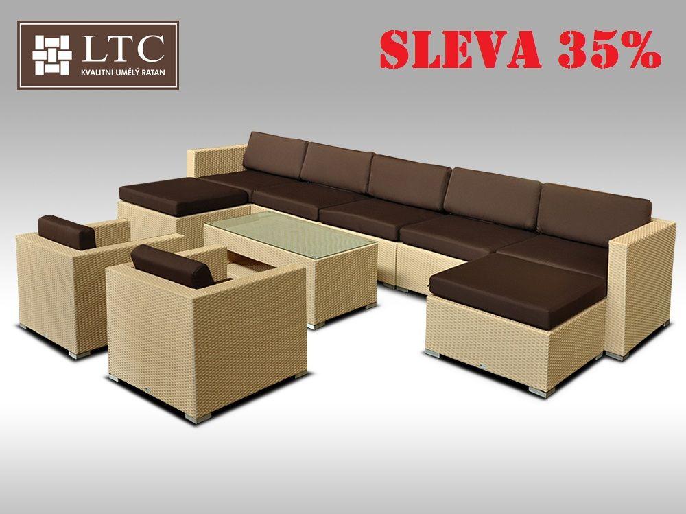 Luxusní rohová sedací souprava ALLEGRA XII písková 7-9 osob