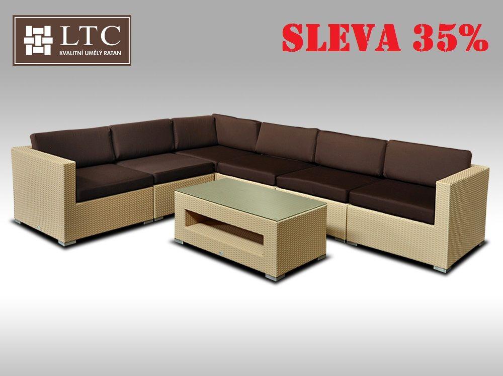 Luxusní rohová sedací souprava ALLEGRA XIV písková 5 osob