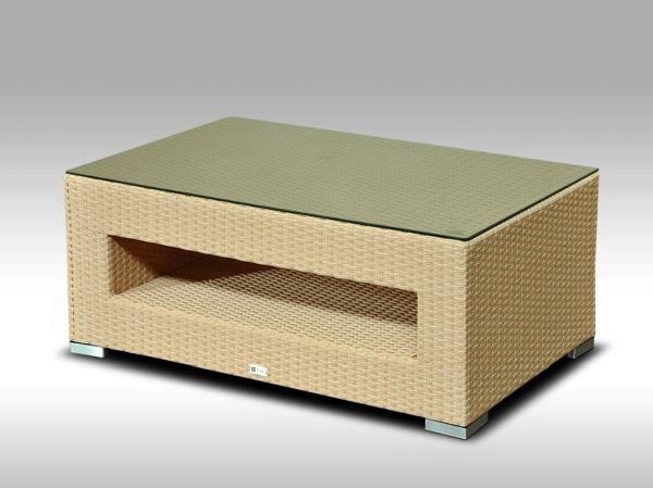 Konferenční stolek z umělého ratanu ALLEGRA pískový - poslední kus