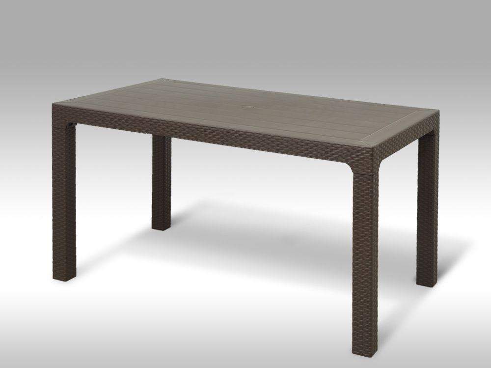 Plastový zahradní stůl 140x80cm Arizona hnědý