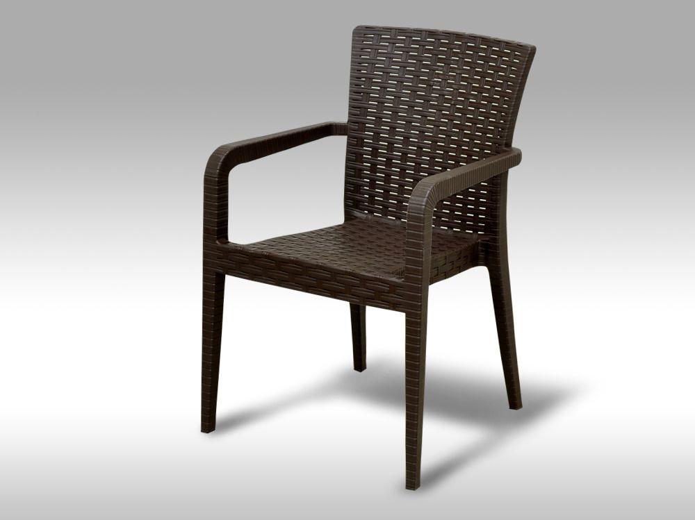 Zahradní plastová židle Valencia hnědá