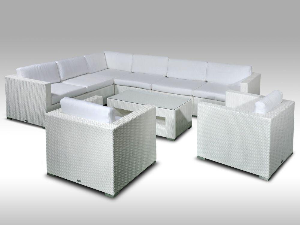 Luxusní rohová sedací souprava ALLEGRA XVI bílá 7 osob