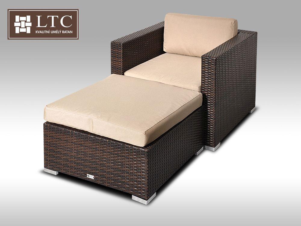 Umělý ratan - luxusní sedací souprava ALLEGRA 1 hnědá 1-2 osoby, světle hnědý polstr