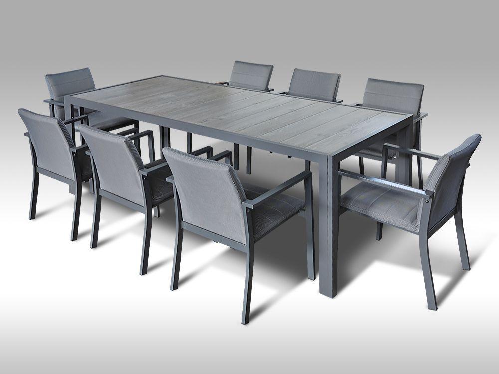 Hliníkový zahradní set: stůl Bergamo 217cm a 8 stohovatelných polstrovaných křesel Justin