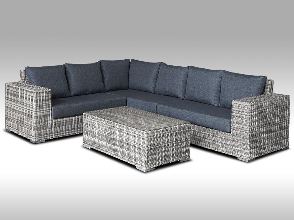 Zahradní set – exkluzivní sedací souprava Bianca 2 pro 6 osob, půlkulatý šedý umělý ratan