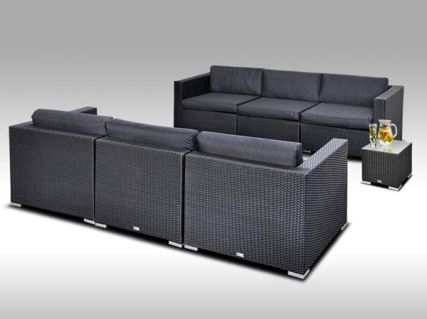 Umělý ratan - luxusní sedací souprava ALLEGRA 6 černá s odkládacím stolkem 6 osob + DÁREK