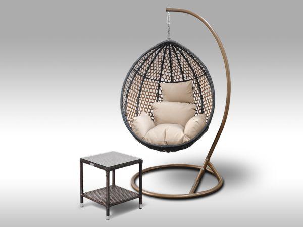 Set závěsná houpačka Coconella hnědá, světle hnědý polstr a stolek Marco