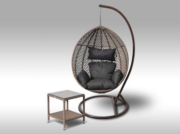Set závěsná houpačka Coconella šedobéžová a stolek Marco