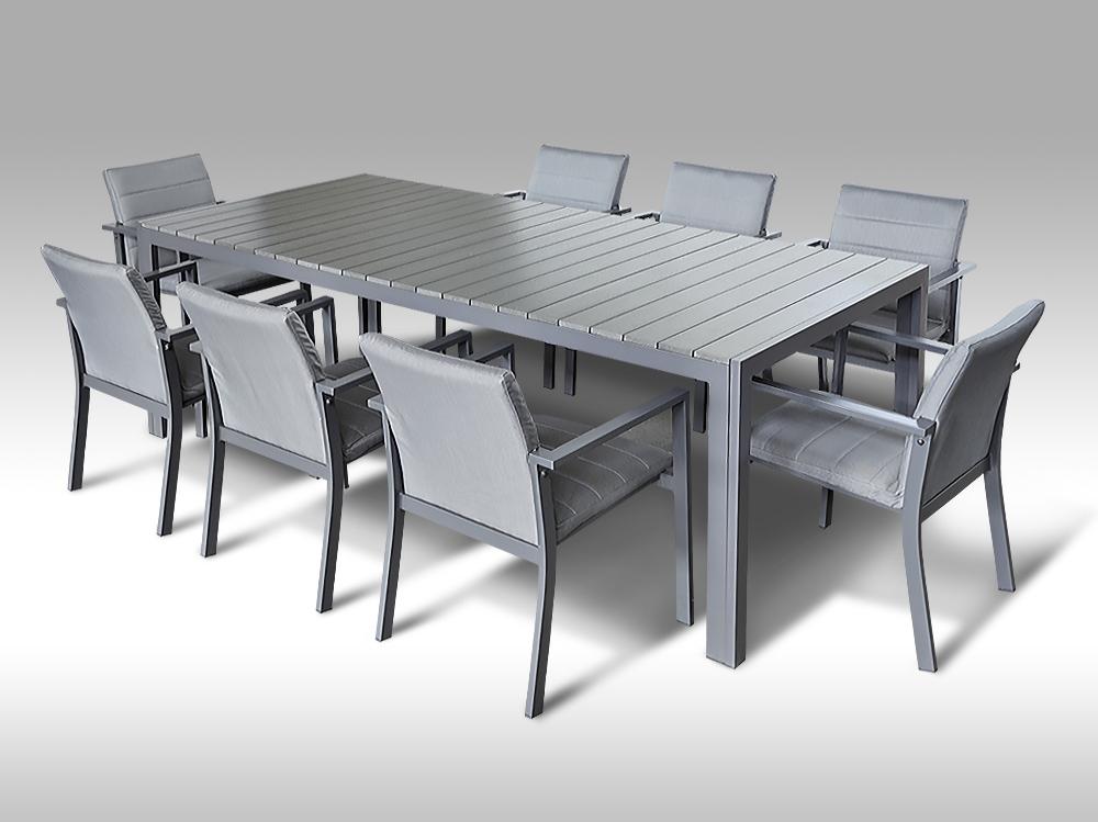 Hliníkový set: stůl Jerry 220cm tmavě šedý a 8 stohovatelných polstrovaných křesel Justin