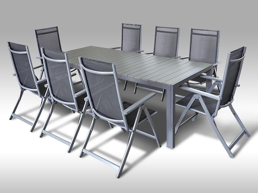 Hliníkový zahradní nábytek: stůl Jerry 220cm tmavě šedý a 8 polohovacích křesel Palermo