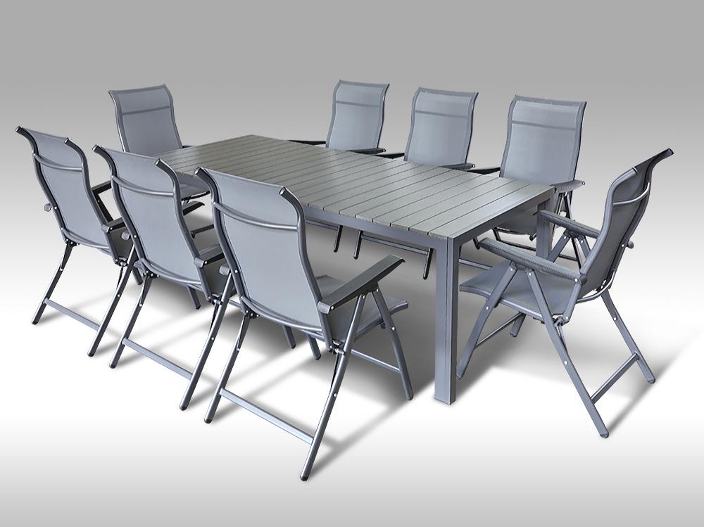 Kovový zahradní nábytek: stůl Jerry 220cm tmavě šedý a 8 polohovacích křesel Sardinia