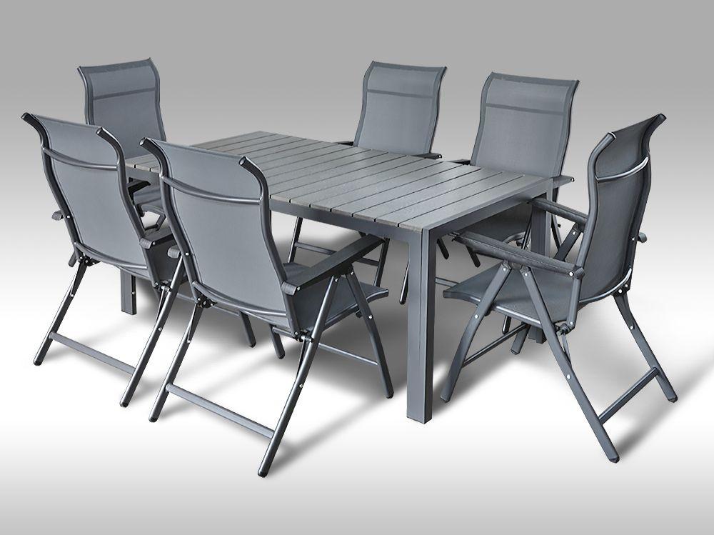Kovový zahradní nábytek: stůl Jersey 160cm šedý a 6 polohovacích křesel Sardinia