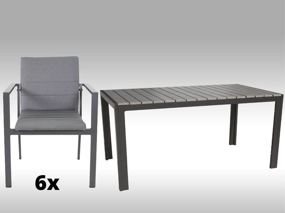 Hliníkový nábytek: stůl Jersey 160cm šedý a 6 stohovatelných polstrovaných křesel Justin
