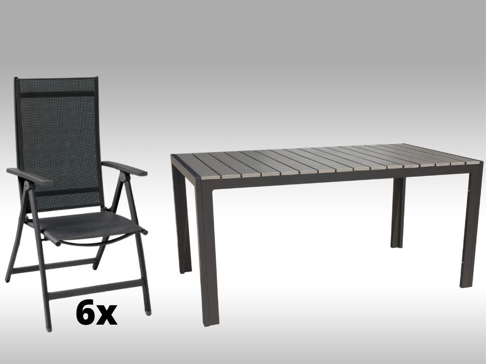 Hliníkový zahradní nábytek: stůl Jersey 160cm šedý a 6 polohovacích křesel Palermo