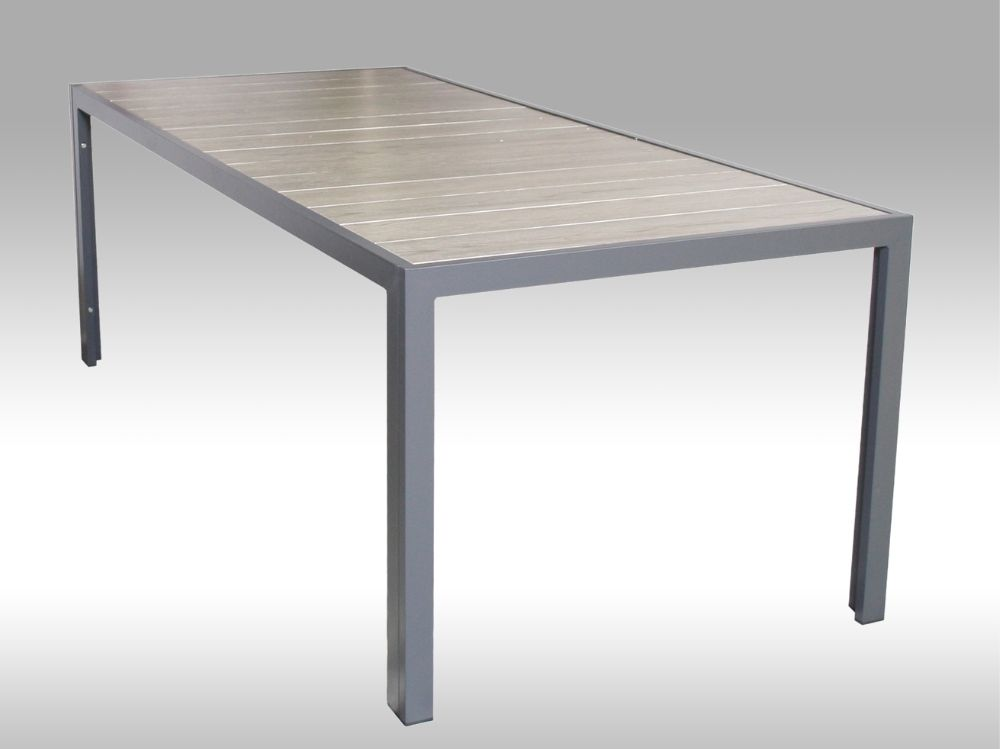 Hliníkový zahradní stůl Bergamo keramika 217cm x 95cm, šedý, pro 8 osob
