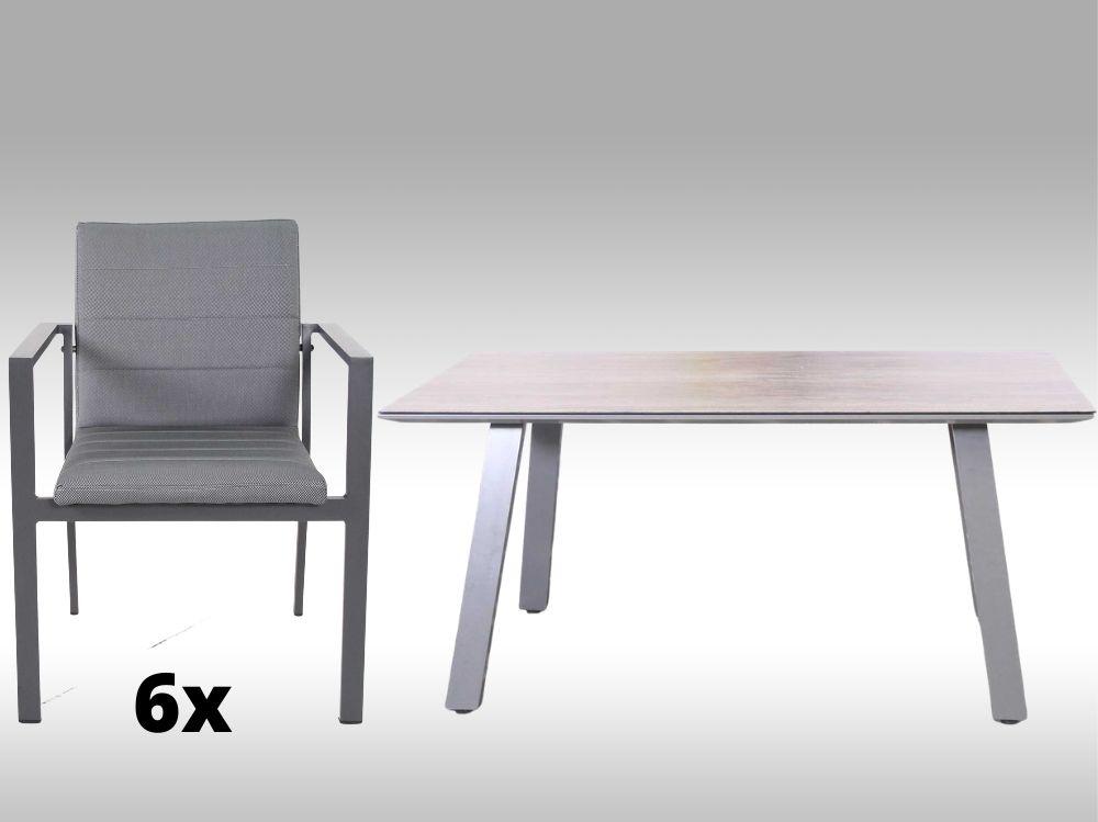 Hliníkový zahradní set: stůl Lucca 160cm a 6 stohovatelných polstrovaných křesel Justin