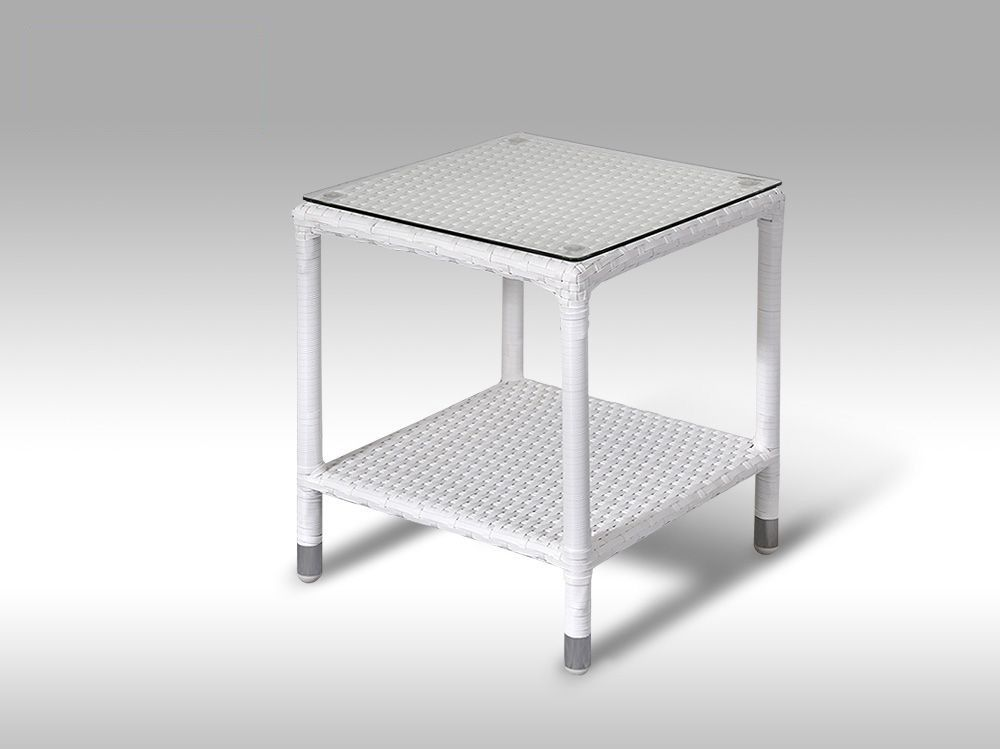 Umělý ratan - stolek Marco bílý