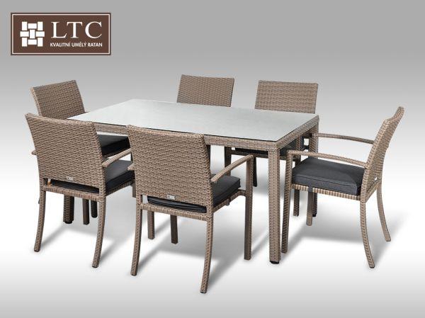 Umělý ratan - jídelní sestava Orlando 150 + 6 židlí Armino šedobéžová