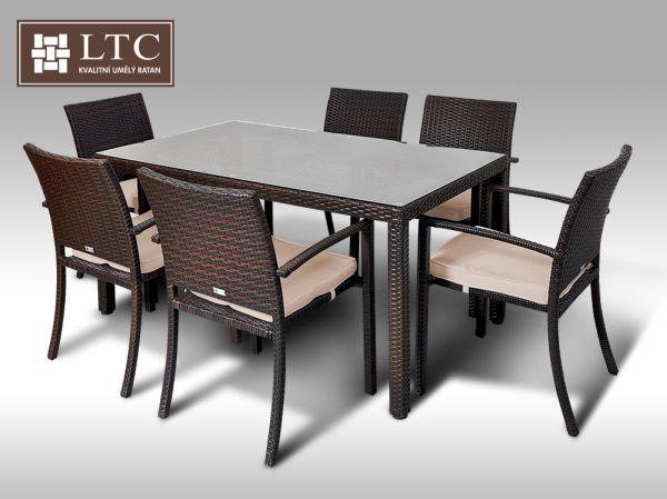 Umělý ratan - jídelní sestava Orlando 150 + 6 židlí Armino hnědá, světle hnědý polstr