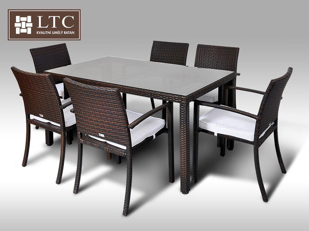 Umělý ratan - jídelní sestava Orlando 150 + 6 židlí Armino hnědá