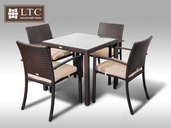Umělý ratan - jídelní sestava Orlando 80 + 4 židle Armino hnědá, světle hnědý polstr