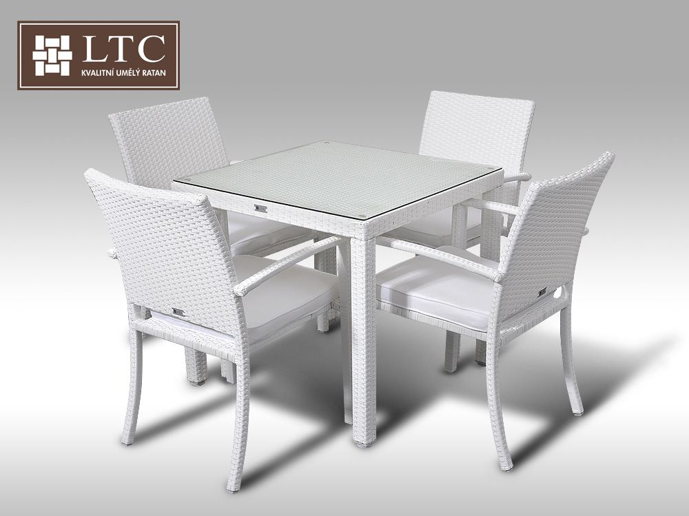 Umělý ratan - jídelní sestava Orlando 80 + 4 židle Armino bílá
