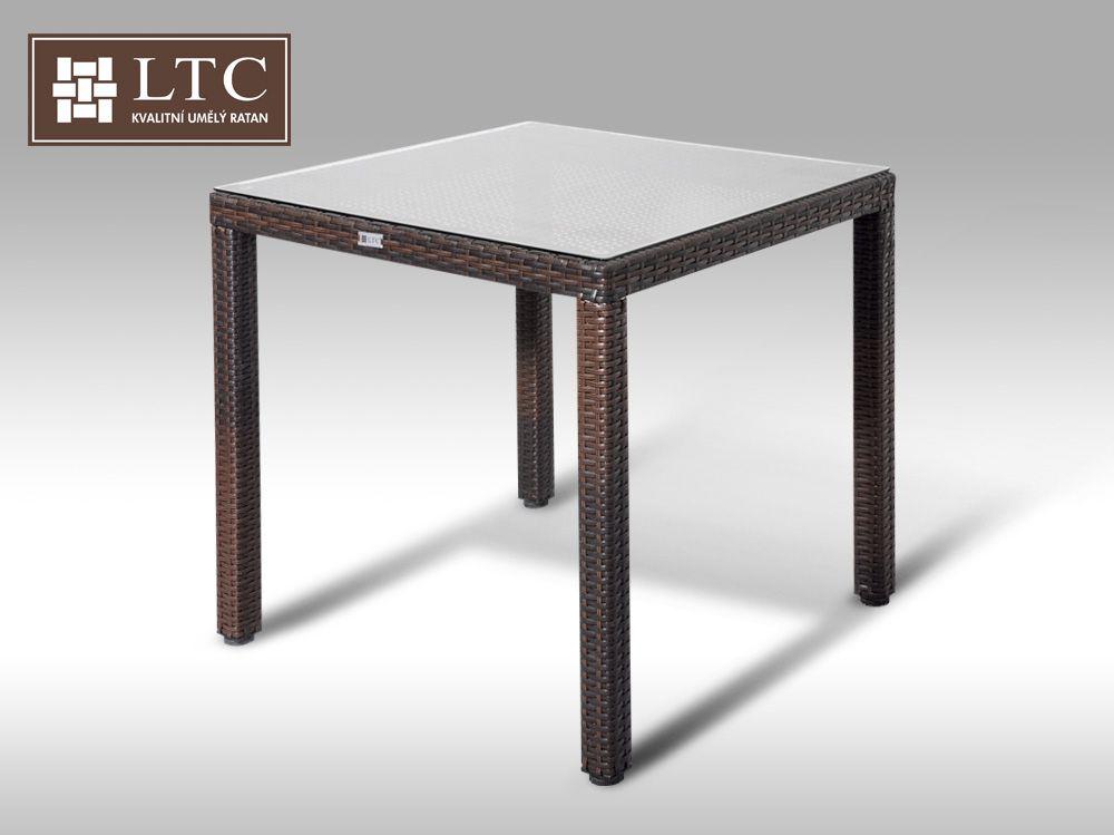 Umělý ratan - stůl Orlando 80x80 hnědý - poslední 1 kus