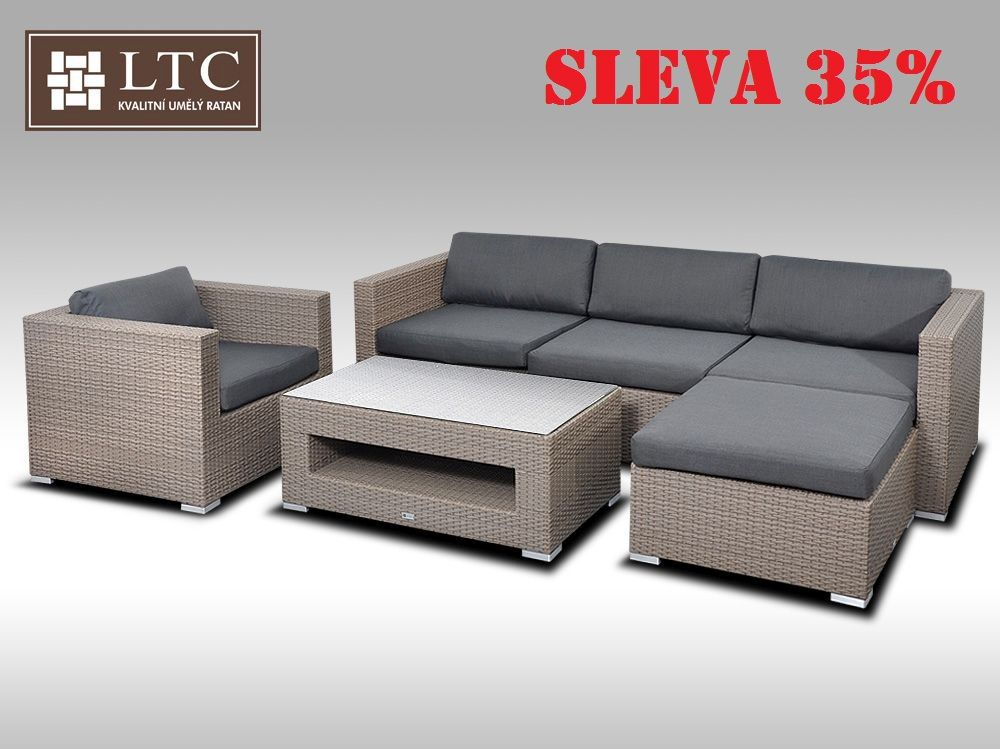 Luxusní rohová sedací souprava ALLEGRA VIII šedobéžová 4-5 osob