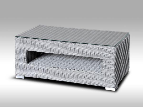 Konferenční stolek z umělého ratanu ALLEGRA šedý, kulatý ratan