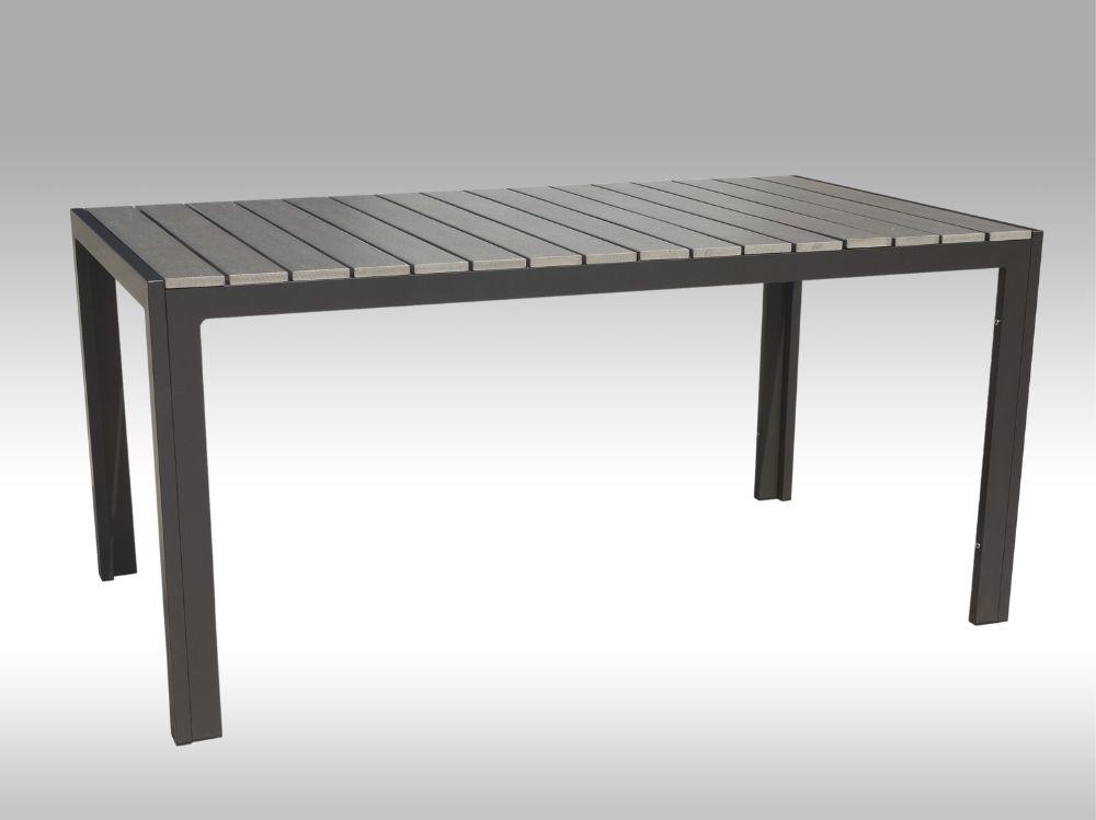 Hliníkový zahradní stůl Jersey 160cm x 90cm, šedý, pro 6 osob