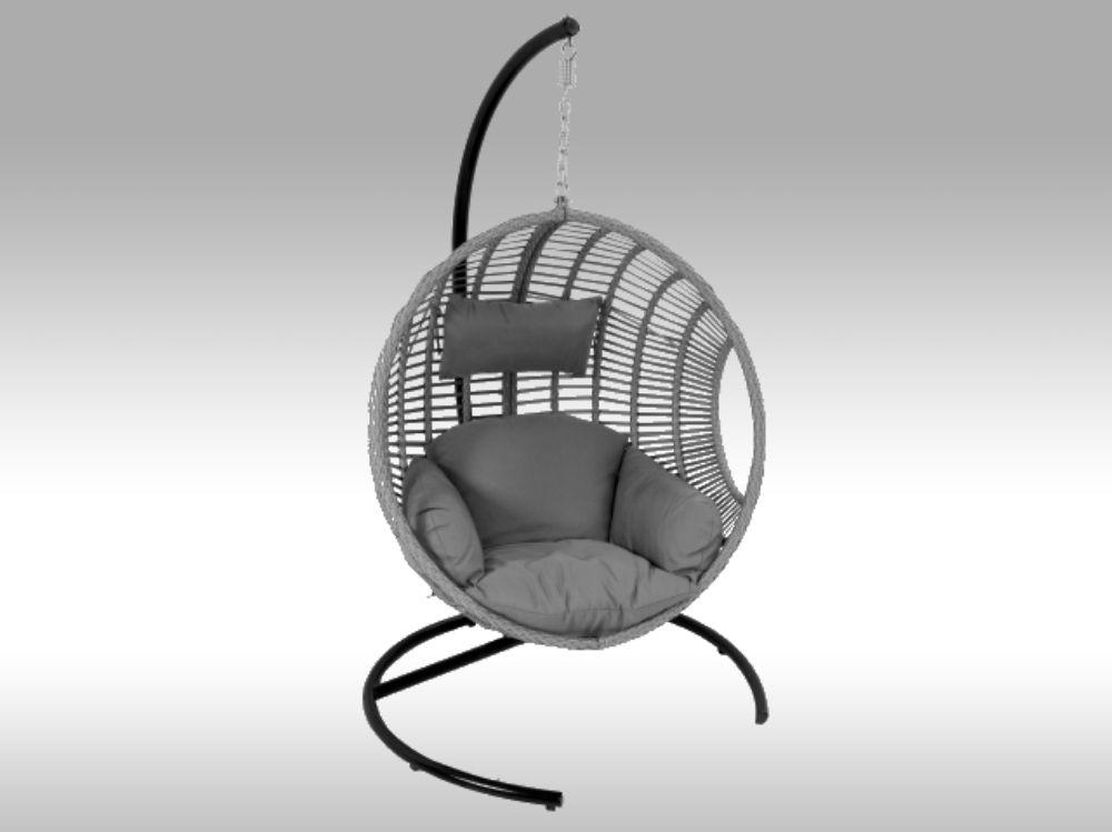 Závěsné křeslo – zahradní houpačka Dusty šedý umělý ratan